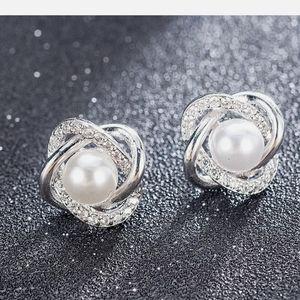 White Pear Stud Earring 925 Silver Stud Earrings
